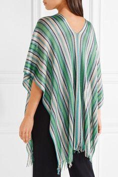 Missoni - Fringed Metallic Crochet-knit Poncho - Green - one size