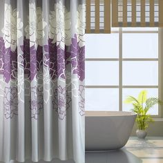 Sfoothome Gray Background And Flower Pattern ,Mildew Proof And Waterproof  Washable Printed Polyester Fabric Shower  Purple And Grey Shower Curtain