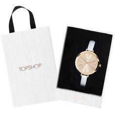 TopShop White Leather Strap Watch (£35) ❤ liked on Polyvore featuring jewelry, watches, white, white wrist watch, white watches, topshop, white jewelry and topshop jewelry