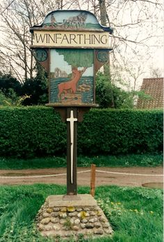 """""""Winfarthing Village Sign"""". Winfarthing, Norfolk (© Peggy Cannell / Pictures Of England)"""