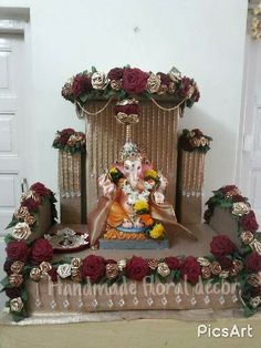 In love with my creation.Handmade décor . Exclusively made from Ecofriendly materials Flower Decoration For Ganpati, Ganpati Decoration Design, Diwali Decorations, Festival Decorations, Flower Decorations, Engagement Decorations, Wedding Decorations, Floral Centerpieces, Floral Arrangements