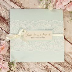 Blue Lace Pocketfold Rustic Wedding Invitation Personalised Handmade SAMPLE