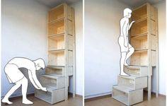 本棚を引き出し階段状にDIY