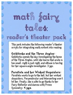 This pack includes the following reader theater scripts for integrating math content into reading. Content Vocabulary integrated: Angles: Acute, Ri...