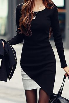 Simple O Neck Long Sleeves Patchwork Black Cotton Blend Sheath Mini Dress