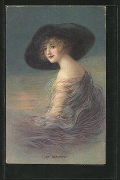 old postcard: AK Lady Beautiful, schöne junge Frau mit Hut