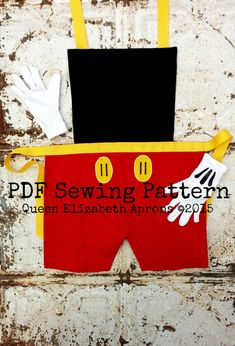 MICKEY MOUSE Child Costume Apron PDF Sewing Pattern. Disney Junior Jr. cartoon inspired. Fits Boys Girls sizes 2t- 8 Dress up Birthday Party