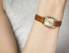 Gold plated women's watch square wristwatch Glory by SovietEra