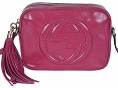 NEW Gucci Women's 308364 PINK Patent Leather Small GG Soho Disco Purse Bag #Gucci #MessengerCrossBody