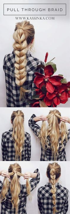 Here is a little hair tutorial I made for you guys! I love this hairstyle & it looks impossible but it's actually super simple! Start by splitting your ponytail in half then with that section split it in half again and wrap it over the ponytail.