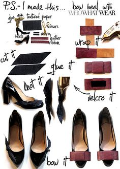 diy bow toe heels