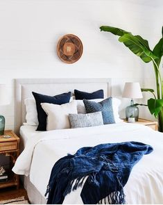 traditional meets modern bedroom design with modern neutral bedding, modern neutral bedroom design and chandelier, coastal bedroom decor with blue and white bedroom decor Best Plants For Bedroom, Blue Bedroom Decor, Bedroom Ideas, Bedroom Designs, Bedroom Inspo, Navy Home Decor, Bedroom Images, Bedroom Chair, Bedroom Inspiration