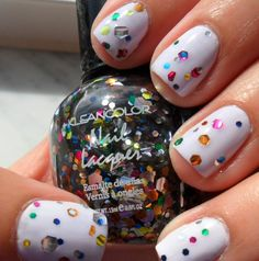 Hex shaped glitter manicure. DIY. Easter themed. #NailArt