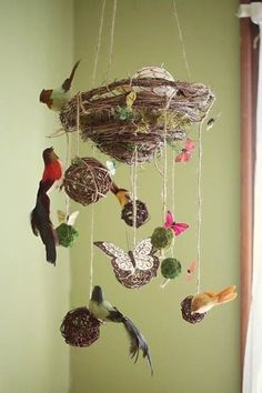 Sweet nest mobile idea -- spring nature table ??