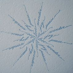 Calligraphy Snowflake Letterpress Card by paperdragonfly on Etsy