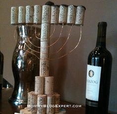 Fabulous Wine Cork Menorah for Hanukkah Designed by the Chef at Tierra Sur kosher restaurant at Herzog Winery in Oxnard, California. A wonderful DIY Jewish holiday craft that you can create at home with wine corks, copper wire and a glue gun.