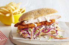 Chicken Caesar salad on a sandwich! What a fabulous idea. Entree Recipes, Sandwich Recipes, Cooking Recipes, Pub Recipes, Recipies, Schnitzel Recipes, Chicken Schnitzel, Ideas Sándwich, Shop Ideas