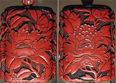 Case (Inrô) with Design of Large Flowering Peony  Period: Edo period (1615–1868) Date: 18th–19th century Culture: Japan Medium: Carved red lacquer