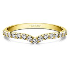 Diamond Delicate Notched Contour Band set in 14k Yellow Gold 015 Ct Twt Diamonds GHI2I3 with Diamonds in 14k Yellow Gold 015 ct twt * Click image for more details.