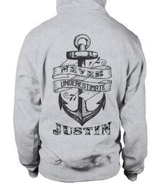 # JUSTIN NEVER UNDERESTIMATE .  JUSTIN NEVER UNDERESTIMATE  A GIFT FOR A SPECIAL PERSON  It's a unique tshirt, with a special name!   HOW TO ORDER:  1. Select the style and color you want:  2. Click Reserve it now  3. Select size and quantity  4. Enter shipping and billing information  5. Done! Simple as that!  TIPS: Buy 2 or more to save shipping cost!   This is printable if you purchase only one piece. so dont worry, you will get yours.   Guaranteed safe and secure checkout via:  Paypal…