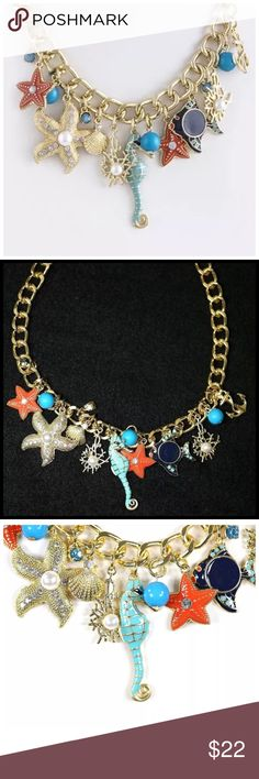 "D27 Gold Ocean Starfish Seahorse Charm Necklace ‼️ PRICE FIRM UNLESS BUNDLED WITH OTHER ITEMS FROM MY CLOSET ‼️    Ocean Theme Necklace  Really fun and stylish necklace. Sure to dress up any outfit. Gold color metal with various sea life charms.  Lobster clasp.  Necklace is approximately 18.5"", including the 3"" of extender chain.  Earrings hang down approximately 1""   Please check my closet for many more items including designer clothing, scarves, shoes, handbags & much more! Jewelry…"