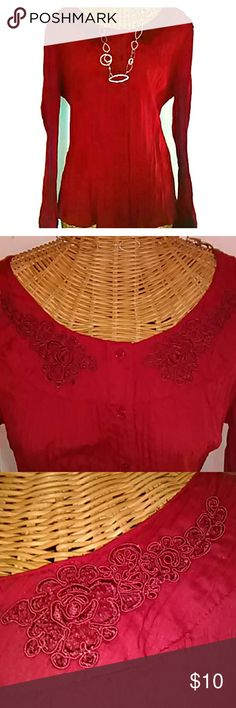 Fall top Red pleaded button down top with tie in back! Accents the waist. St. John's Bay Tops Button Down Shirts