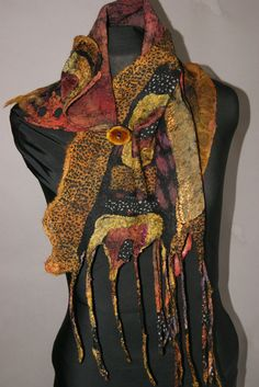 Nuno Felted scarflette  a SugarPlum Original by sugarplumoriginals, $185.00