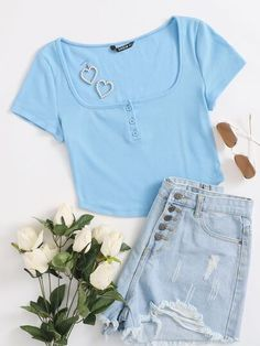 Baby blue crop top with curved square neck hem and three buttons. Girls Fashion Clothes, Girl Fashion, Girl Outfits, Fashion Outfits, Cheap Crop Tops, Blue Crop Tops, Cute Pants, Top P, Baby Blue