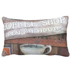 Coffee Shop Cafe Sign Throw Pillows