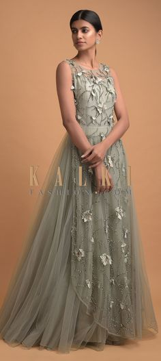 Laurel green ball gown in net with satin under lining. Adorned with cut dana, beads and flowers on the center panel. Embroidery Online, Floral Embroidery, Indowestern Gowns, Illusion Neckline, Party Wear, Evening Gowns, Ball Gowns, Satin, 3d