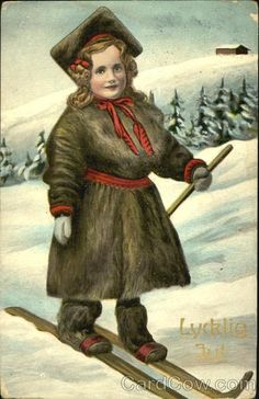 Divided Back Postcard Young Girl in Cross-Country Skiis Children Vintage Christmas Photos, Victorian Christmas, Vintage Cards, Vintage Postcards, Picture Postcards, Old Fashioned Christmas, Holiday Postcards, Winter Art, Penny Black