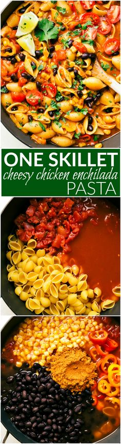An easy one skillet chicken enchilada pasta dish that comes together in less than thirty minutes. A meal the whole family will love! Recipe via chelseasmessyapron.com