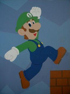 Super Mario bedroom mural : Luigi!