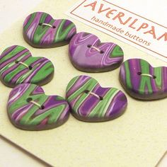 Handmade Heart Buttons Purple Green and White by averilpam on Etsy, £3.00