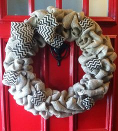 Welcome Wreaths ~ Classic Burlap Wreath with Chevron Ribbon.  www.facebook.com/welcomewreaths