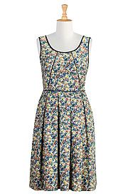Piped trim ditsy floral print dress