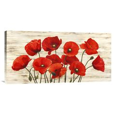 Bentley Global Arts 'French Poppies' by Serena Biffi Painting Print on Canvas