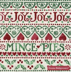 20 Designer PAPER NAPKINS Emma Bridgewater Christmas Joy PAPER NAPKINS