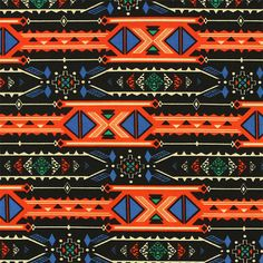 """Royal Blue Orange Arrow Triangle Rows Ponte De Roma Knit Fabric - Unique color combination of royal blue, orange, black, green, and off white arrow triangle ethnic navajo design on a black background Ponte De Roma knit.  Ponte de Roma fabric is a thicker medium weight and has a nice stretch, excellent drape, and great recovery.   Fabric has a subtle horizontal texture. Blue triangle measures 1"""" (see image for scale).  Amazing designer fabric great for maxi skirts, dresses, tops, and more!…"""