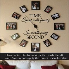 Time Spent With Family Is Worth Every SECOND Inspirational Art Vinyl Wall Decal Home decor 43cm x 64cm $17.5