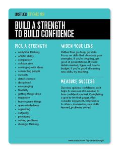 Unstuck Advice: Build a strength to build confidence