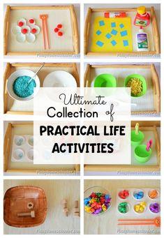 Ultimate collection of practical life activities for toddlers and preschoolers. #montessori #preschool #practicallfeskills #finemotorskills #activities #kidsactivities #homeschool #homeeducation