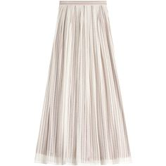 Philosophy di Lorenzo Serafini Lace Maxi Skirt ($330) ❤ liked on Polyvore featuring skirts, bottoms, beige, slimming skirts, maxi skirts, floor length maxi skirt, beige lace skirt and shiny skirt