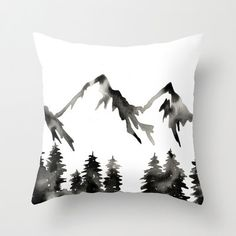 Pillow with Insert . Modern Mountains Pillow . Geometric Pillow . Mountain Landscape Pillow . Black White . Modern