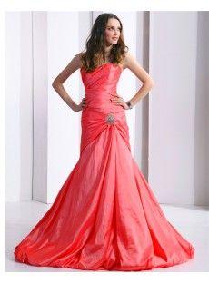 Red Natural Taffeta Mermaid Evening Prom Dress