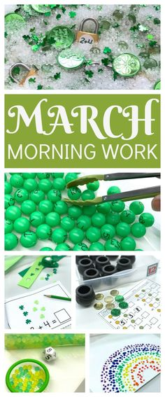 Tons of ideas, activities and freebies for Fine Motor Morning Work Stations and Centers in your classroom for the month of March