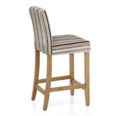 Carter Oak Bar Stool Stripe Fabric - Atlantic Shopping Kitchen Worktop Height, Bar Stools Uk, Striped Fabrics, Foot Rest, Wooden Frames, Dining Chairs, Flooring, Traditional, Shopping