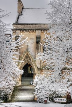 """Hall Steps in Snow"":  Early on a snowy morning - welcoming.  This was photographed by Piers Nye on April 6, 2008, in Oxfordshire, England, GB."