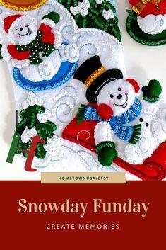 5100bf230 Finished Bucilla Christmas Stocking Personalized Completed Felt Holiday  Stocking Snowman Sledding Snowday Funday Boys Girl Stocking