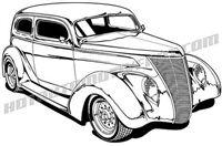 1937 ford sedan hot rod - 3/4 view